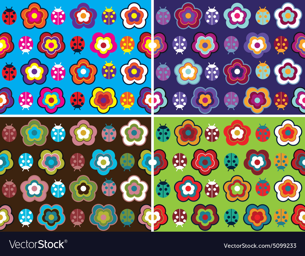 Seamless pattern with pretty flowers on different