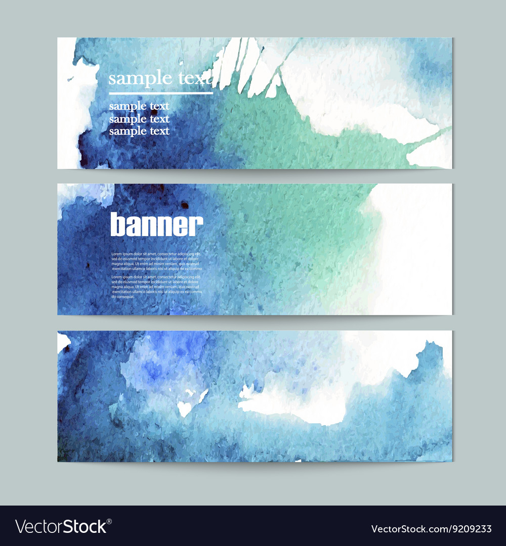 Set of three watercolor banners