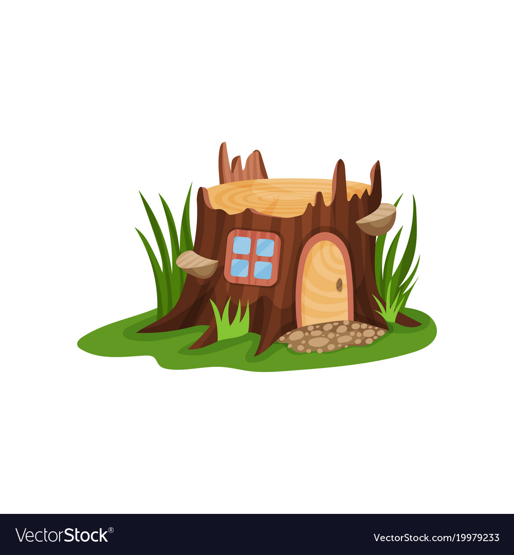 Small fairy-tale house in form of old stump vector image