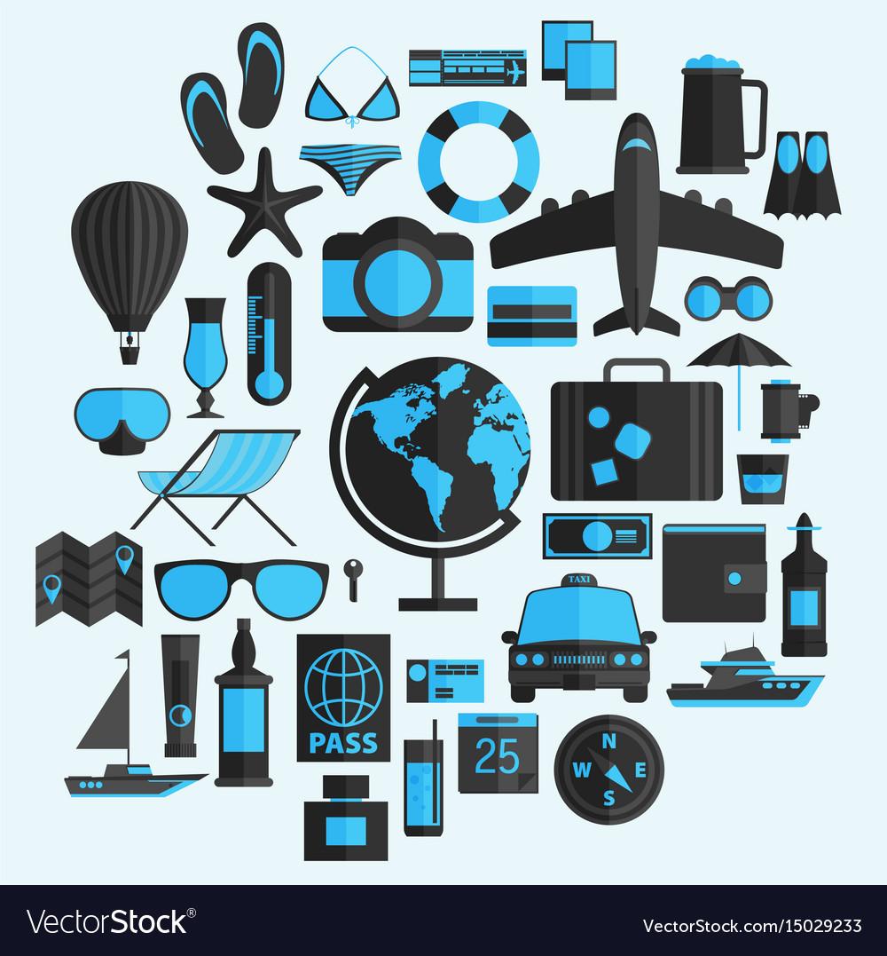 Travel vacation flat design set concept travel
