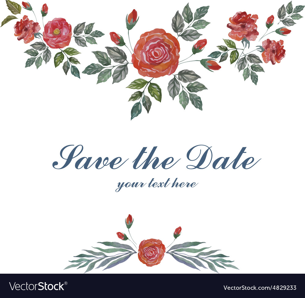 Watercolor Greeting Card with Roses for Wedding vector image