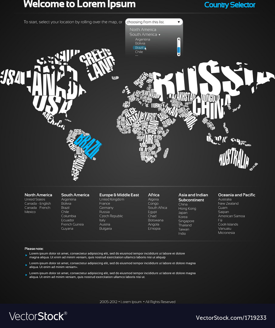 Website design template with world map royalty free vector website design template with world map vector image gumiabroncs Images