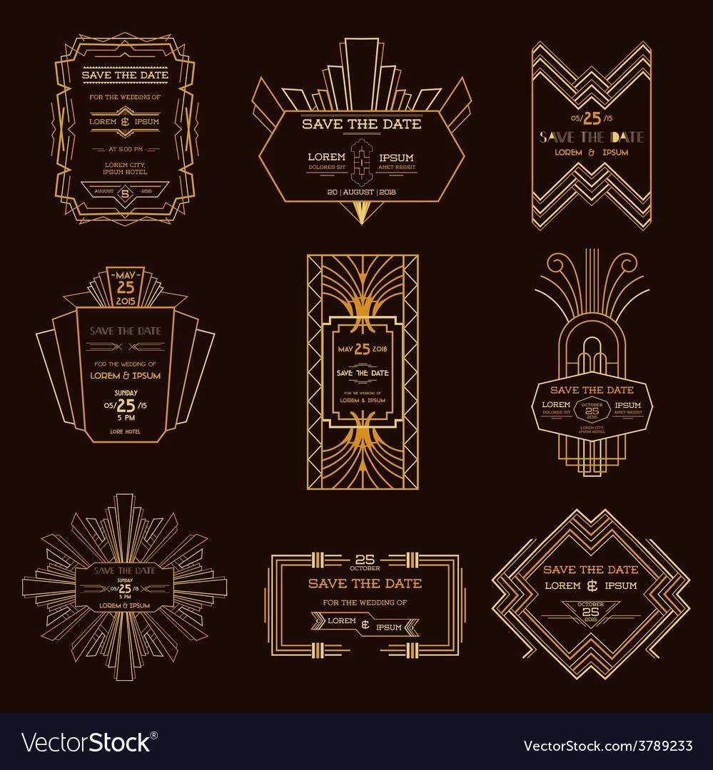 Wedding invitation cards art deco vintage style vector image stopboris Gallery