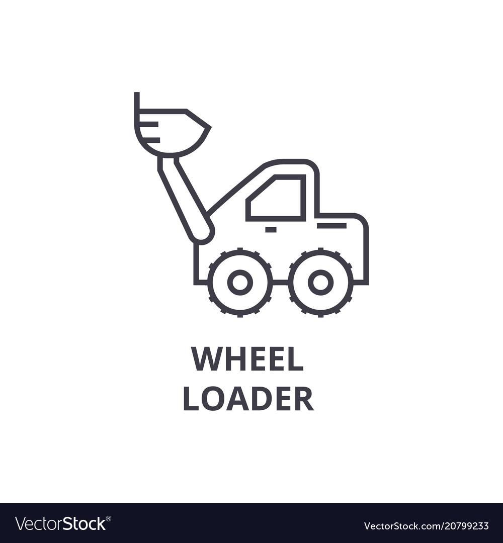 Wheel loader line icon sign