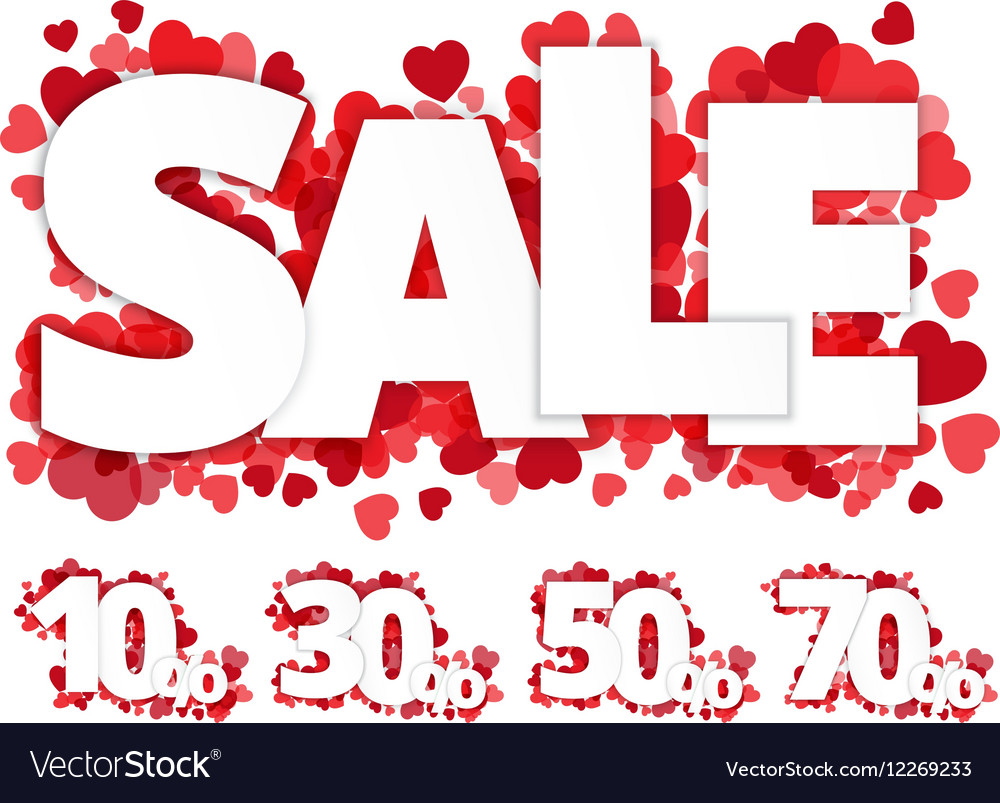 White sale sign over red hearts