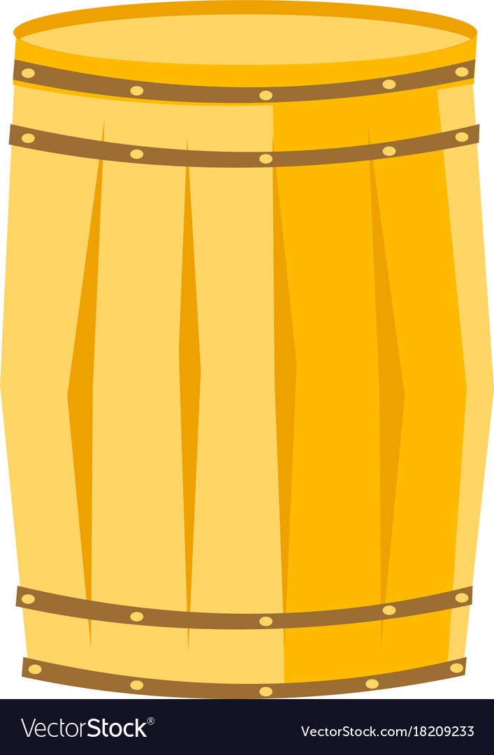 Wooden barrel with iron rings cartoon