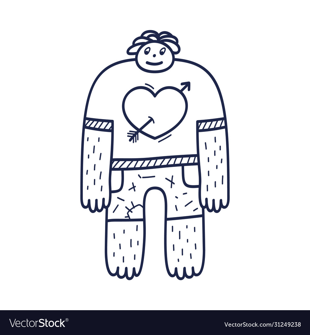 A nice character guy with a heart on a t-shirt is