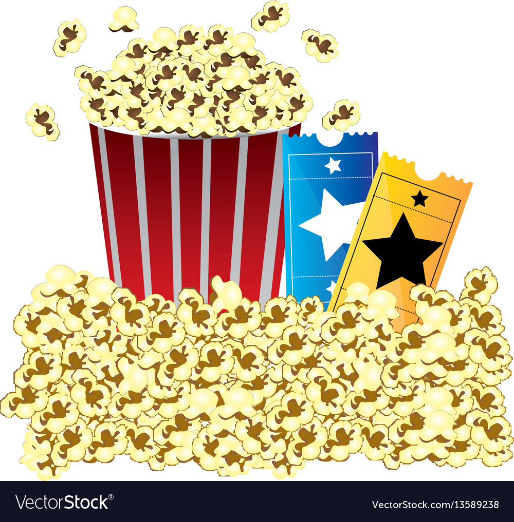 Color background with butter popcorn container and