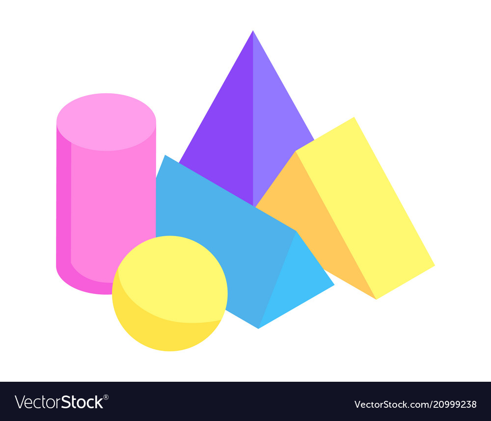 Different geometric prisms collection color banner