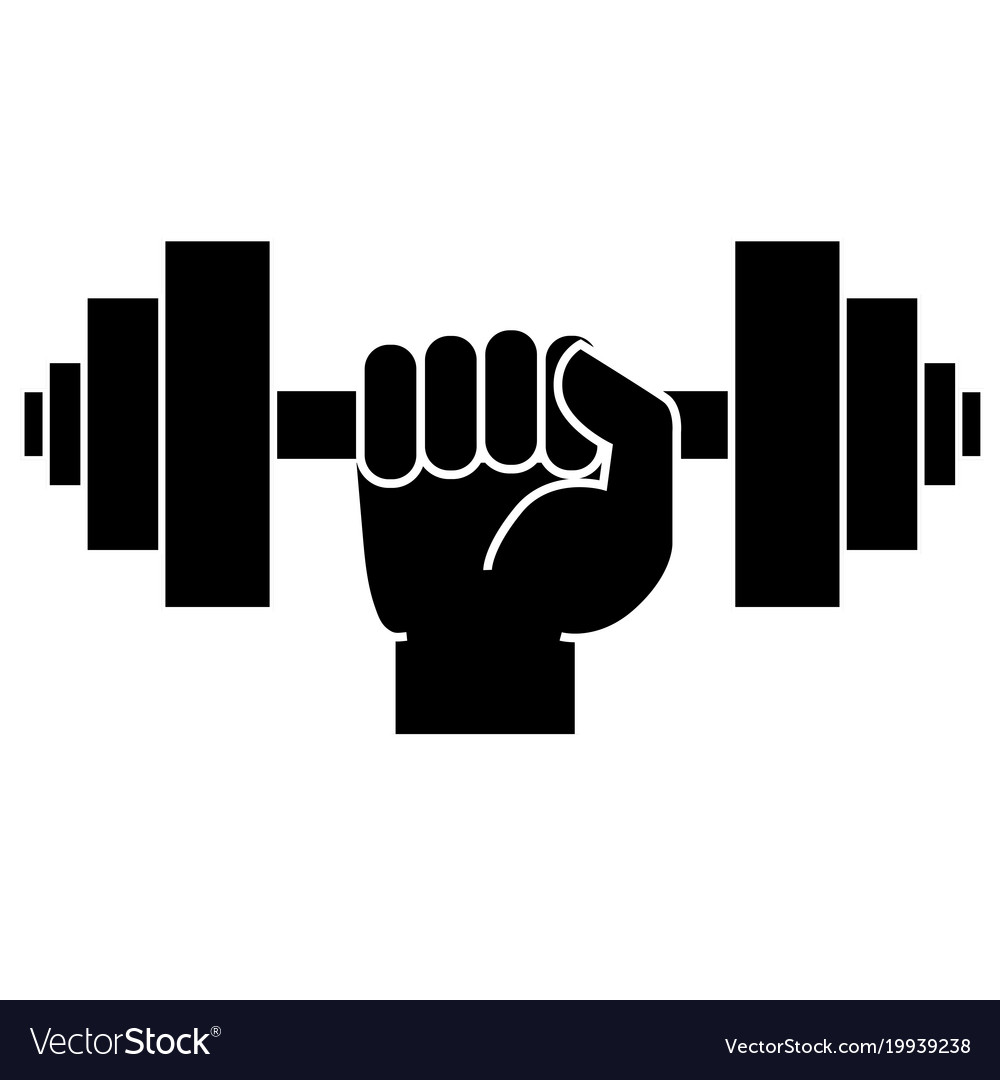 Dumbbell in hand icon Royalty Free Vector Image