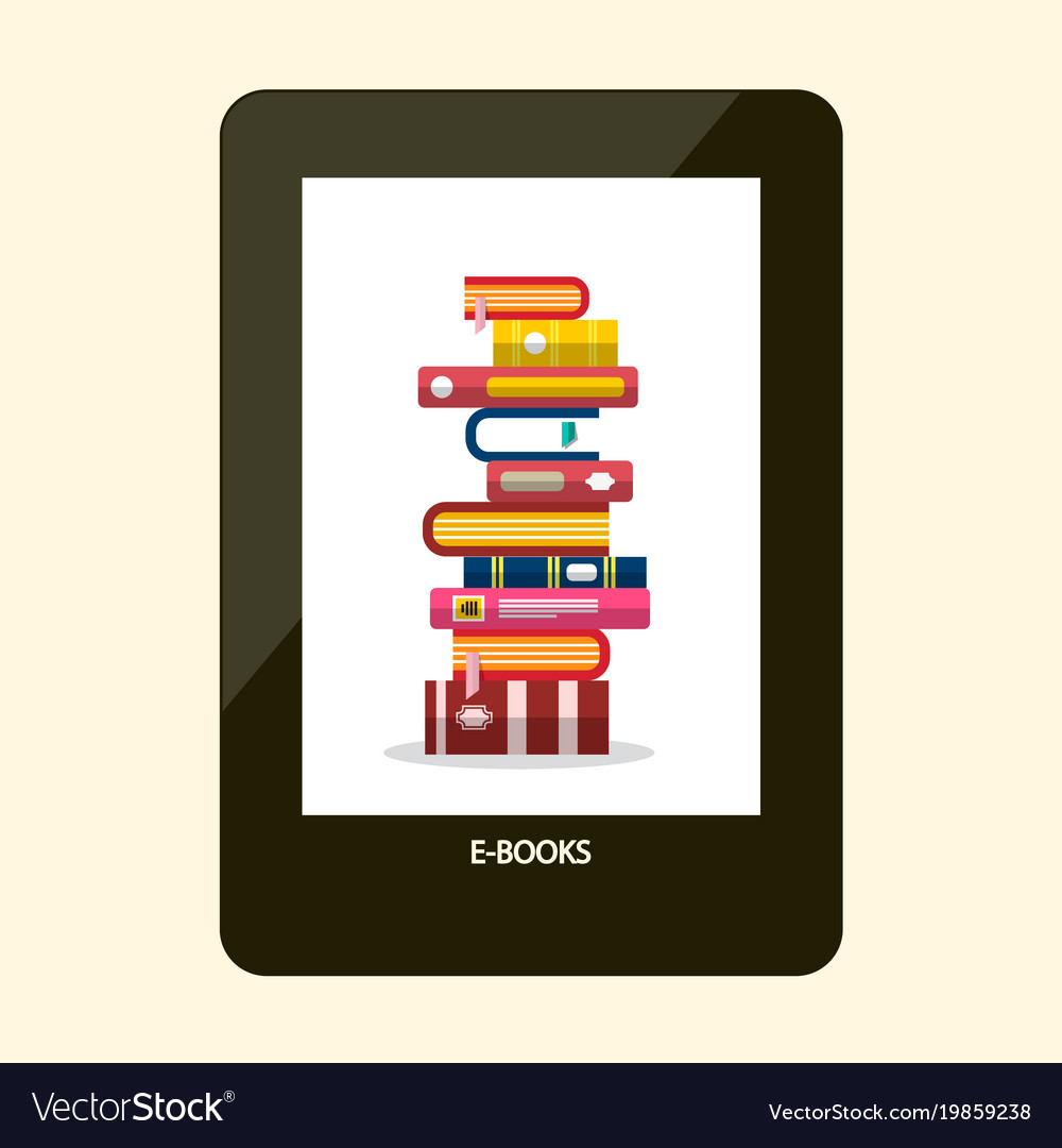 E-book reader e-reader device with books on