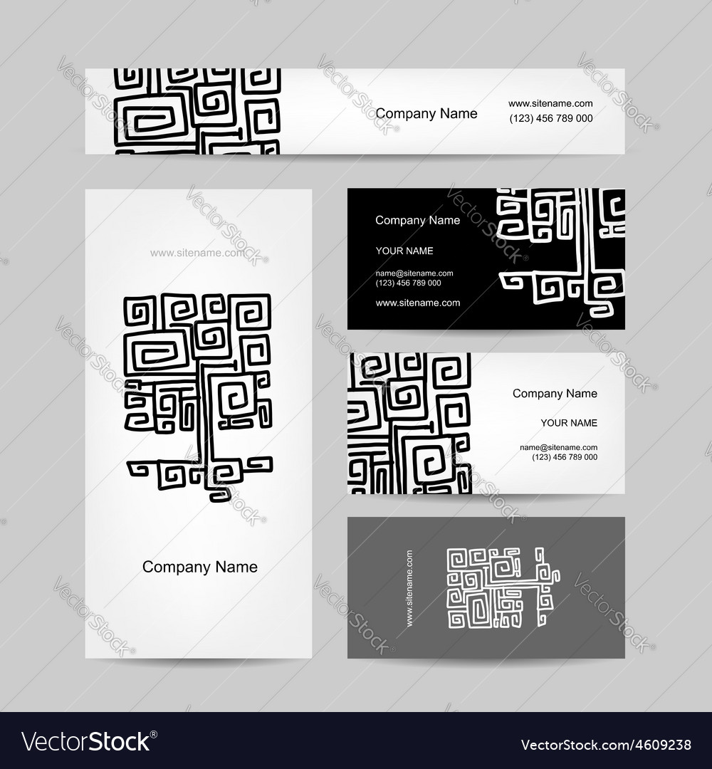 Ethnic ornamental tree business cards design vector image colourmoves