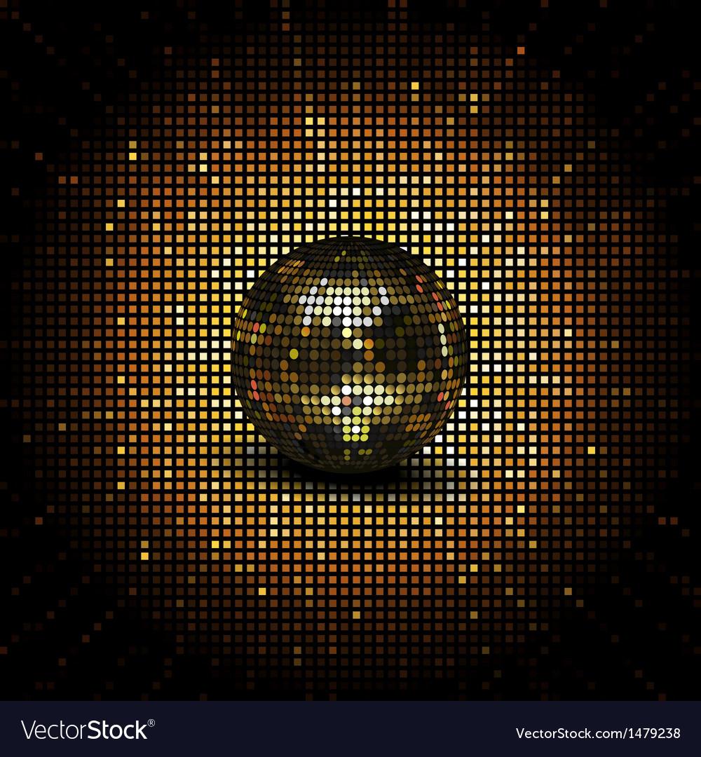 Gold reflective disco ball vector image