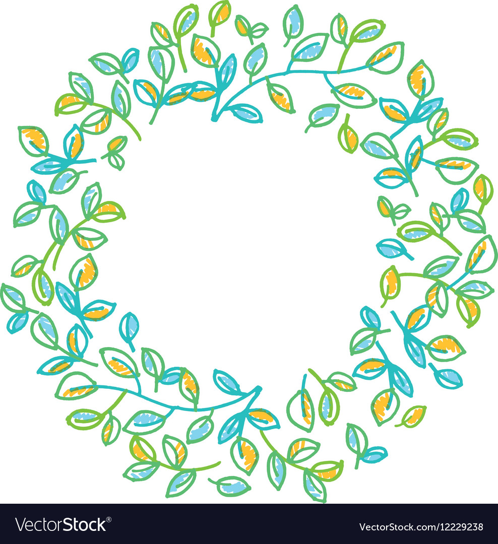 Green leaves wreath design element in hand drawn