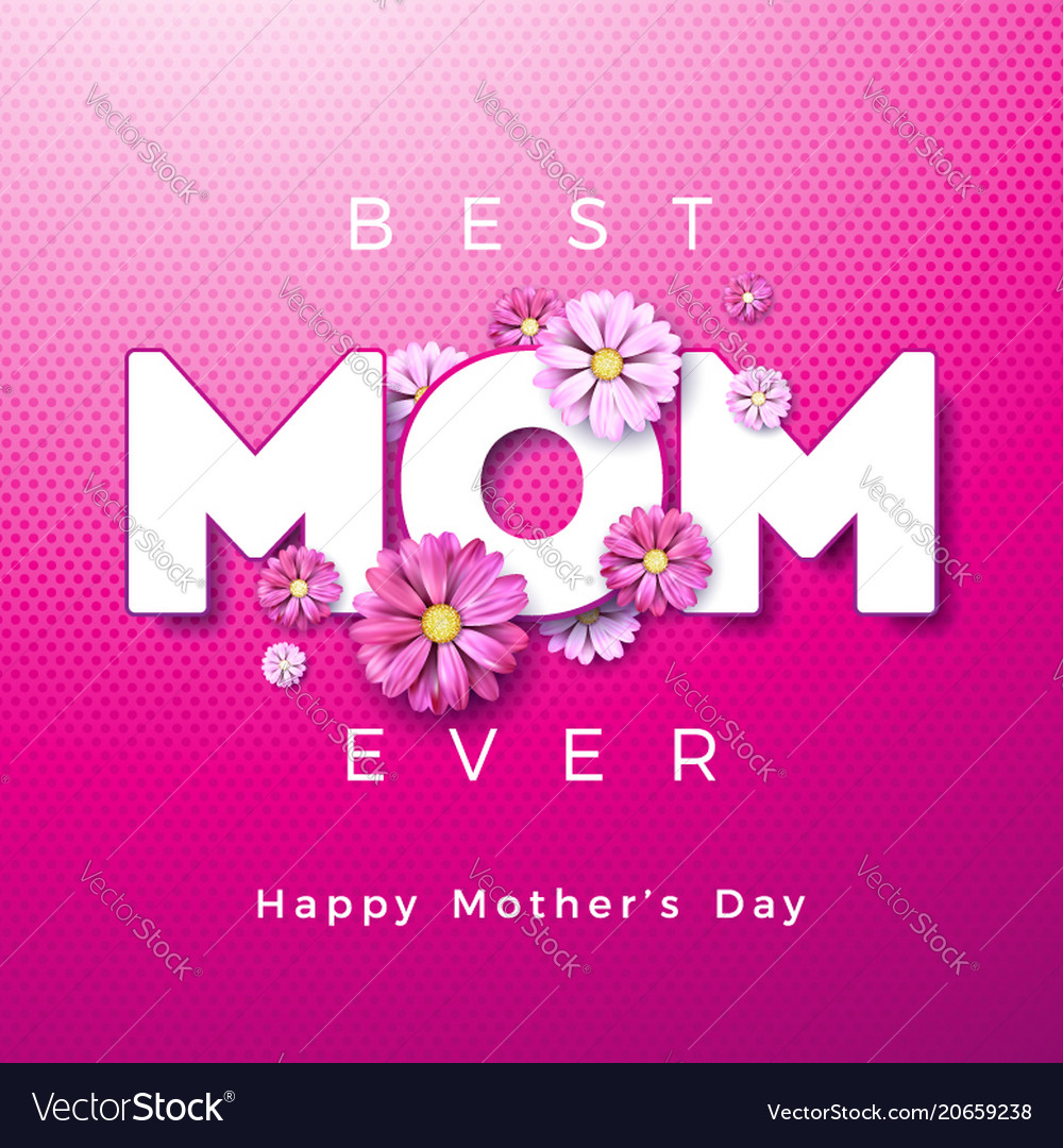 Happy Mothers Day Greeting Card Design With Flower