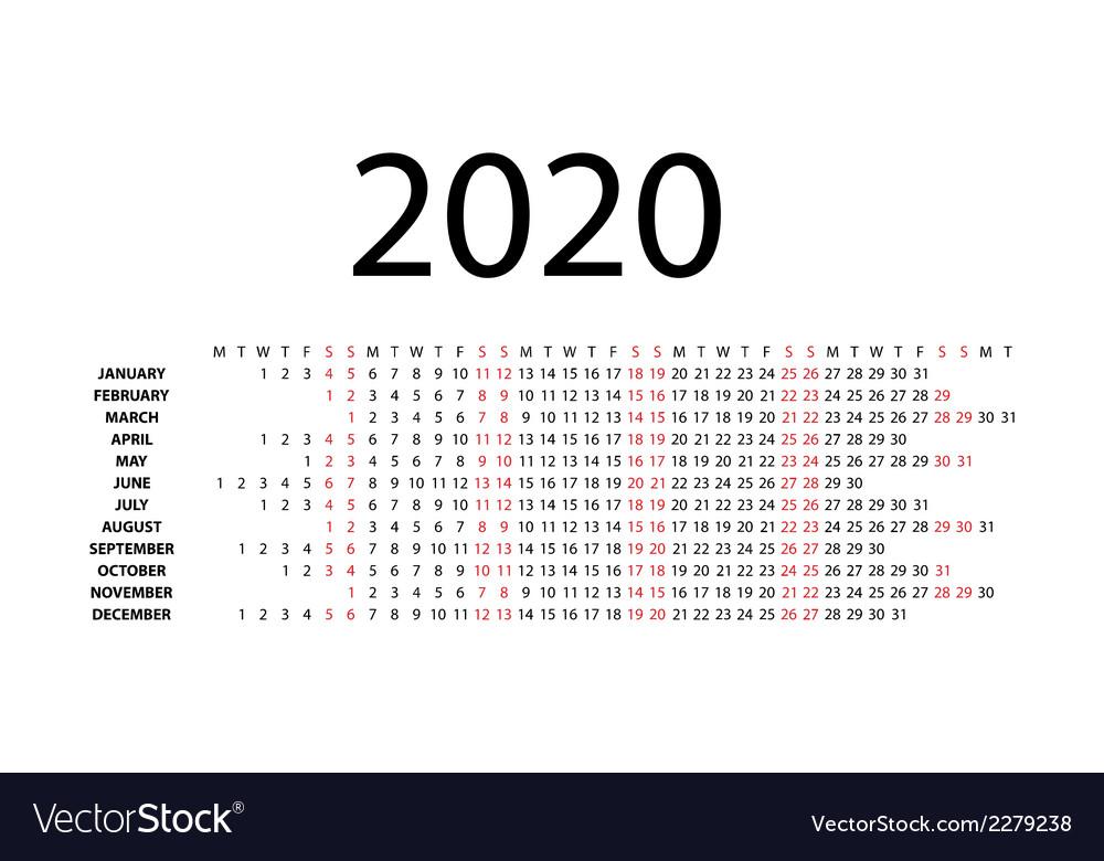 Horizontal Calendar 2020 Horizontal calendar for 2020 Royalty Free Vector Image