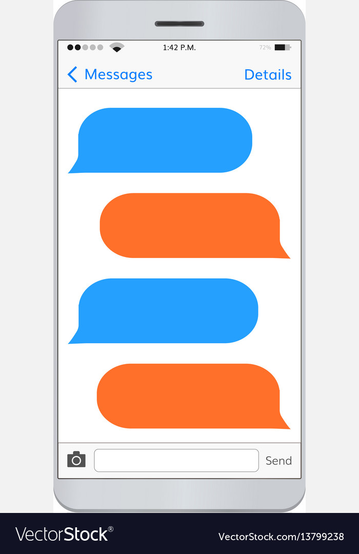 Messaging smartphone with empty dialog bubbles