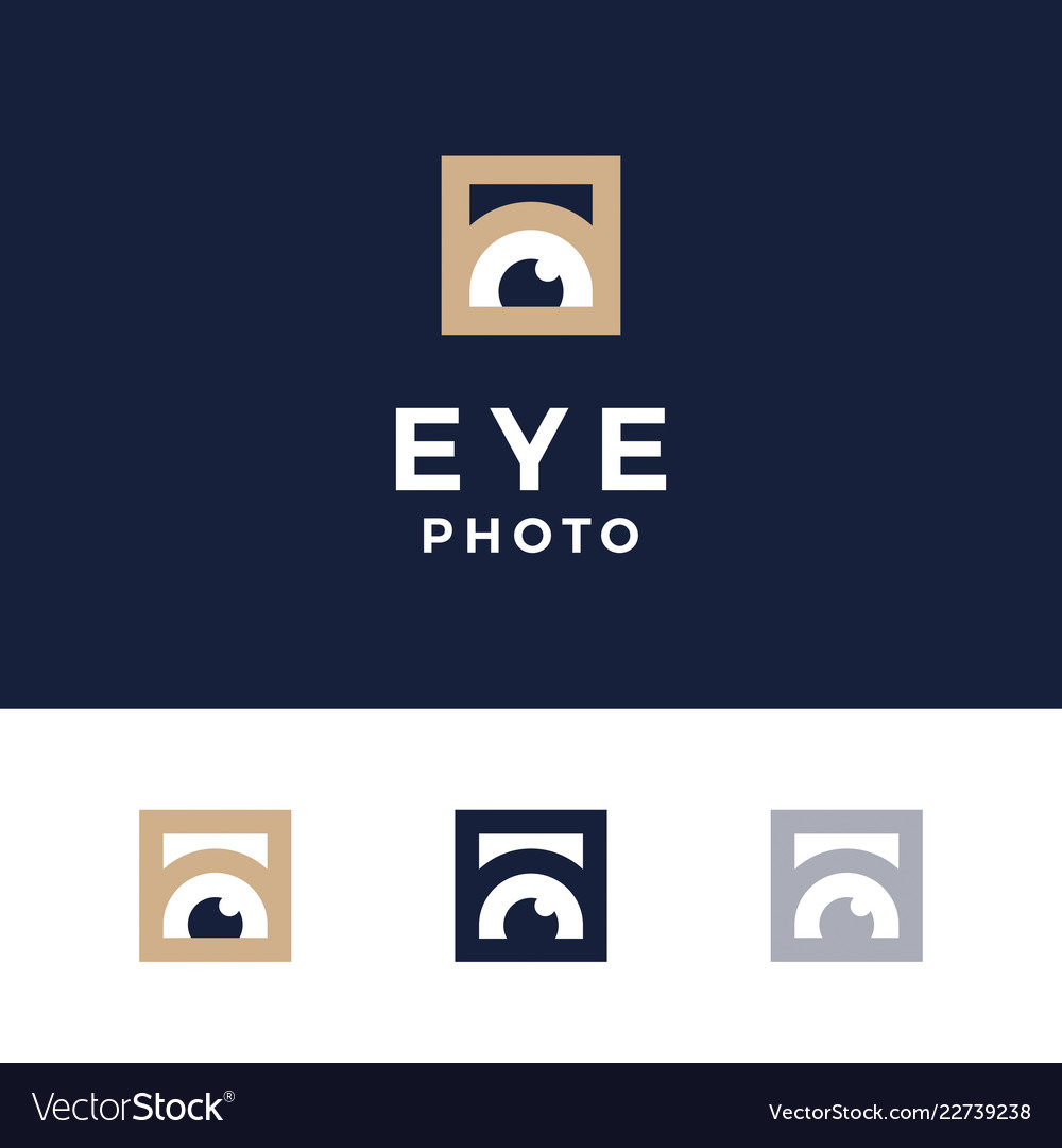 Modern professional logo photos eyes on blue