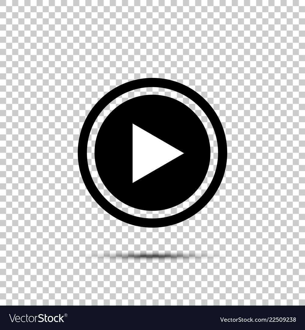 Play button icon in flat style on isolated