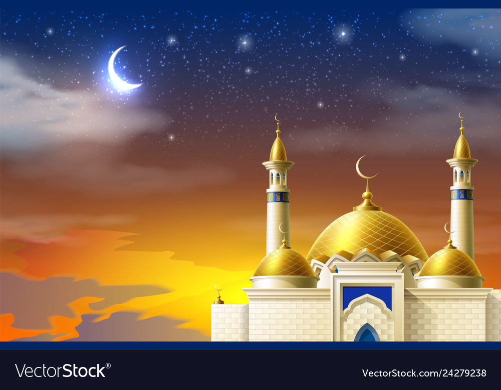 Realistic muslim mosque night moon star sky