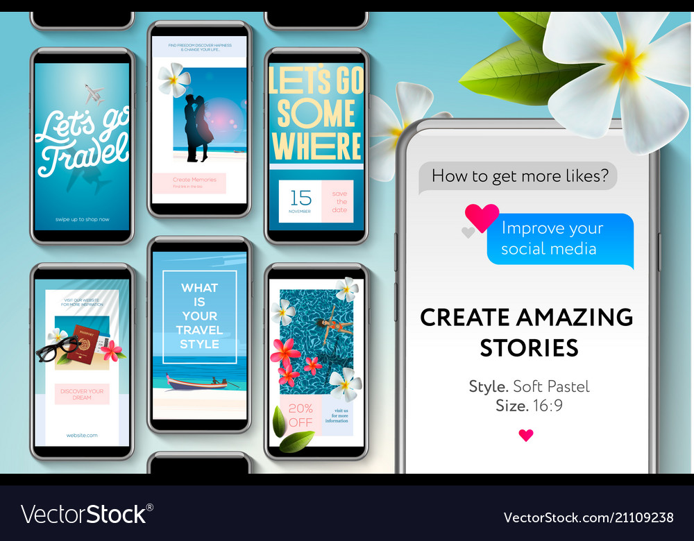 Social Media Story Templates For Blogger Vector Image