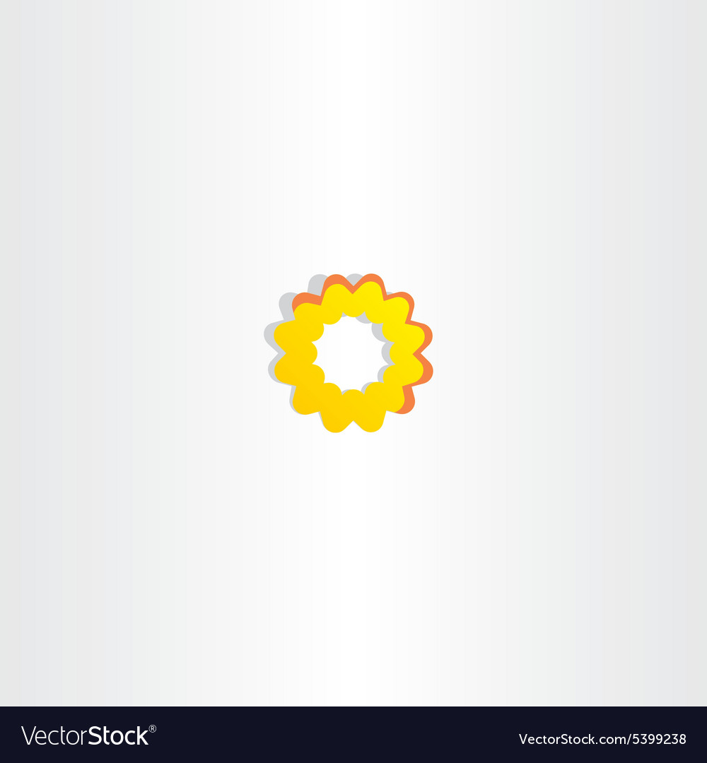 Sun Icon Abstract Yellow Flower Symbol Royalty Free Vector