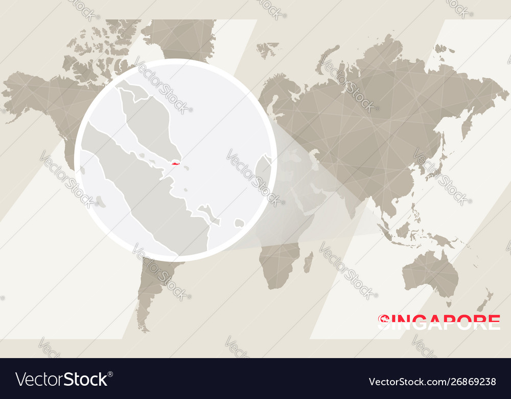 Zoom on singapore map and flag world map
