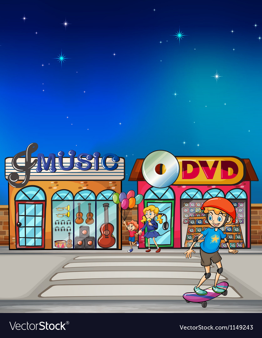 A boy playing with his skateboard vector image