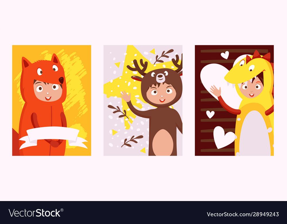 Children in costumes animals set banners