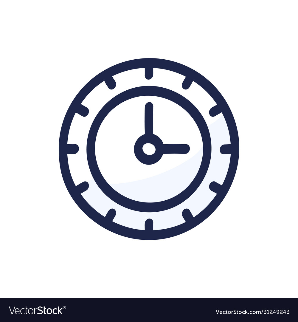 Clock doodle line black icon watch dial isolated