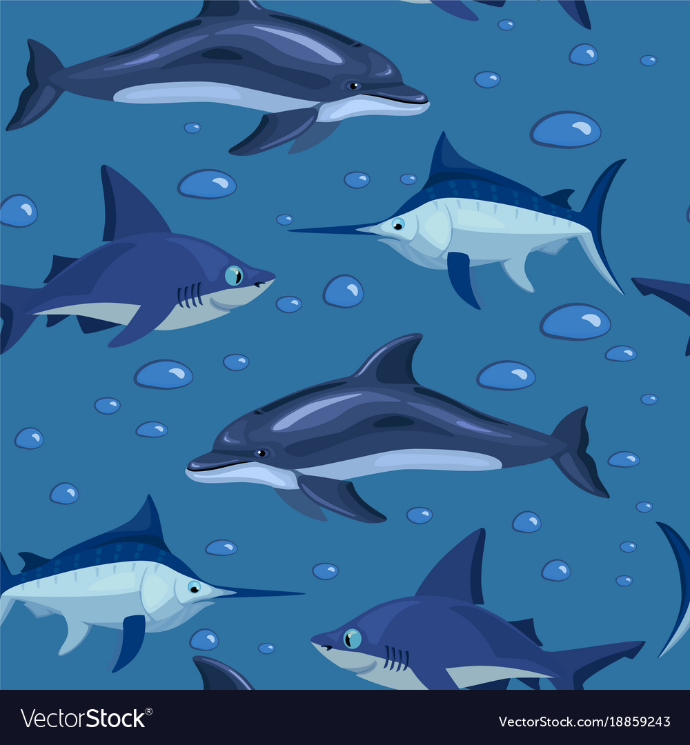 Fishes cartoon seamless pattern stock