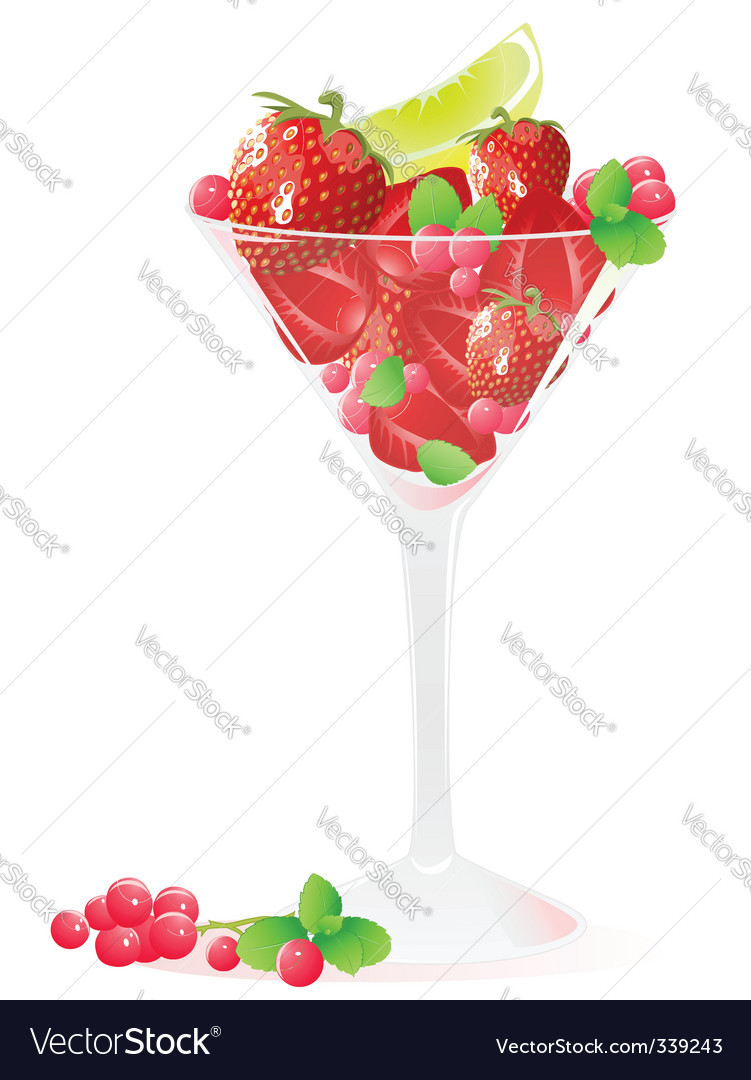 Glass of berries and fruits vector image