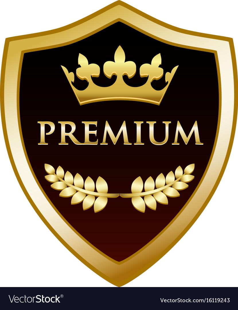 Premium gold shield vector image