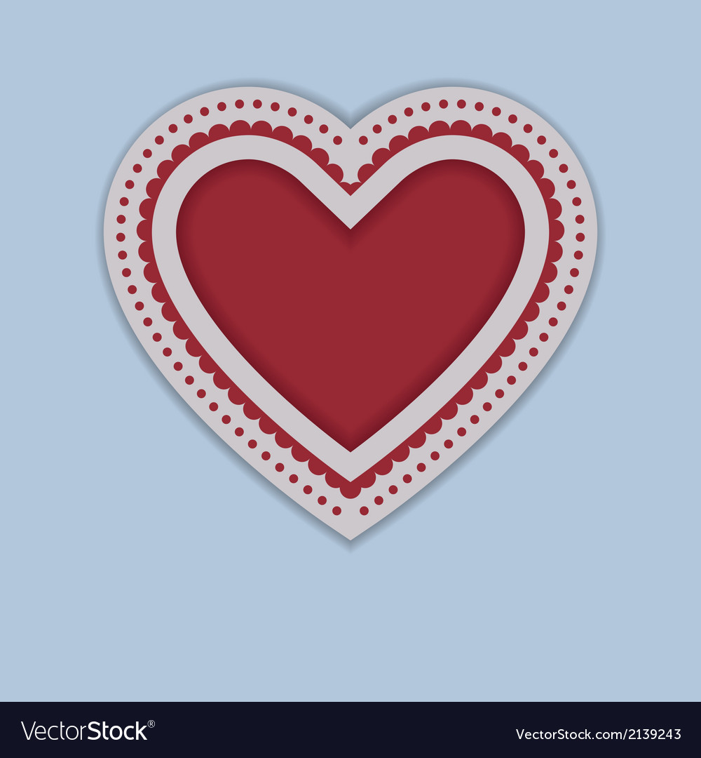 Red Paper Heart isolated on blue background vector image