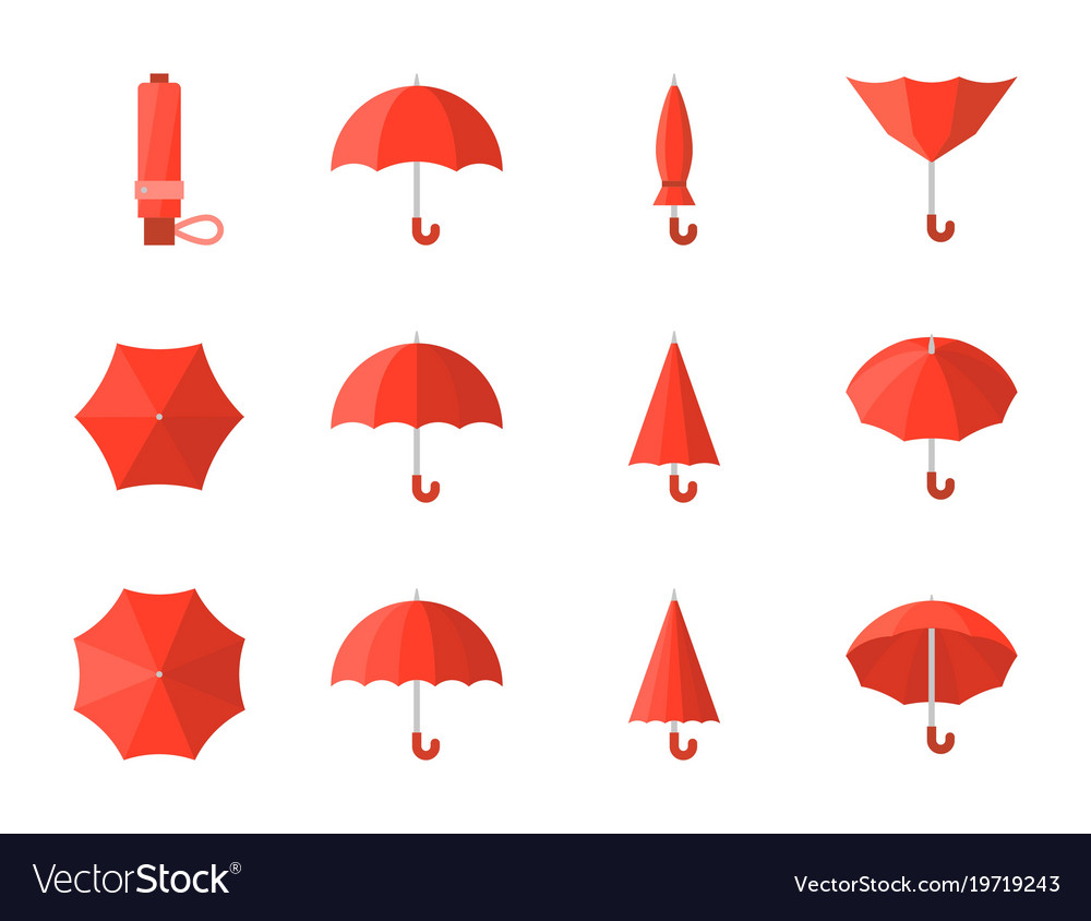 Red umbrella icon in various style