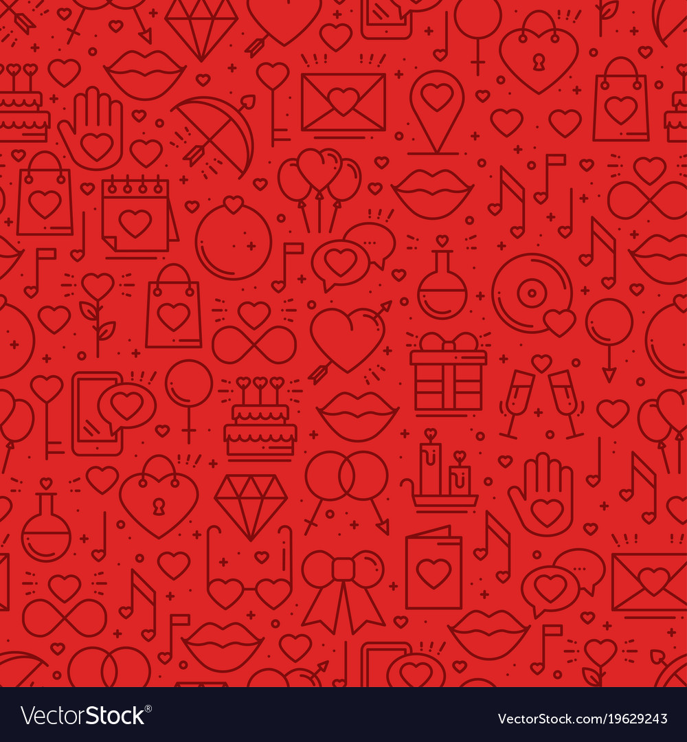 Seamless pattern with love symbols in line style
