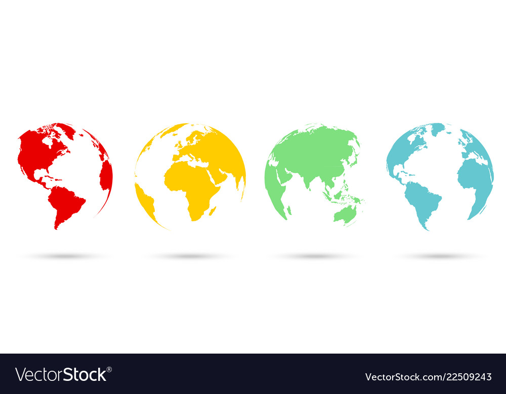 Set 3d earth globe in flat style