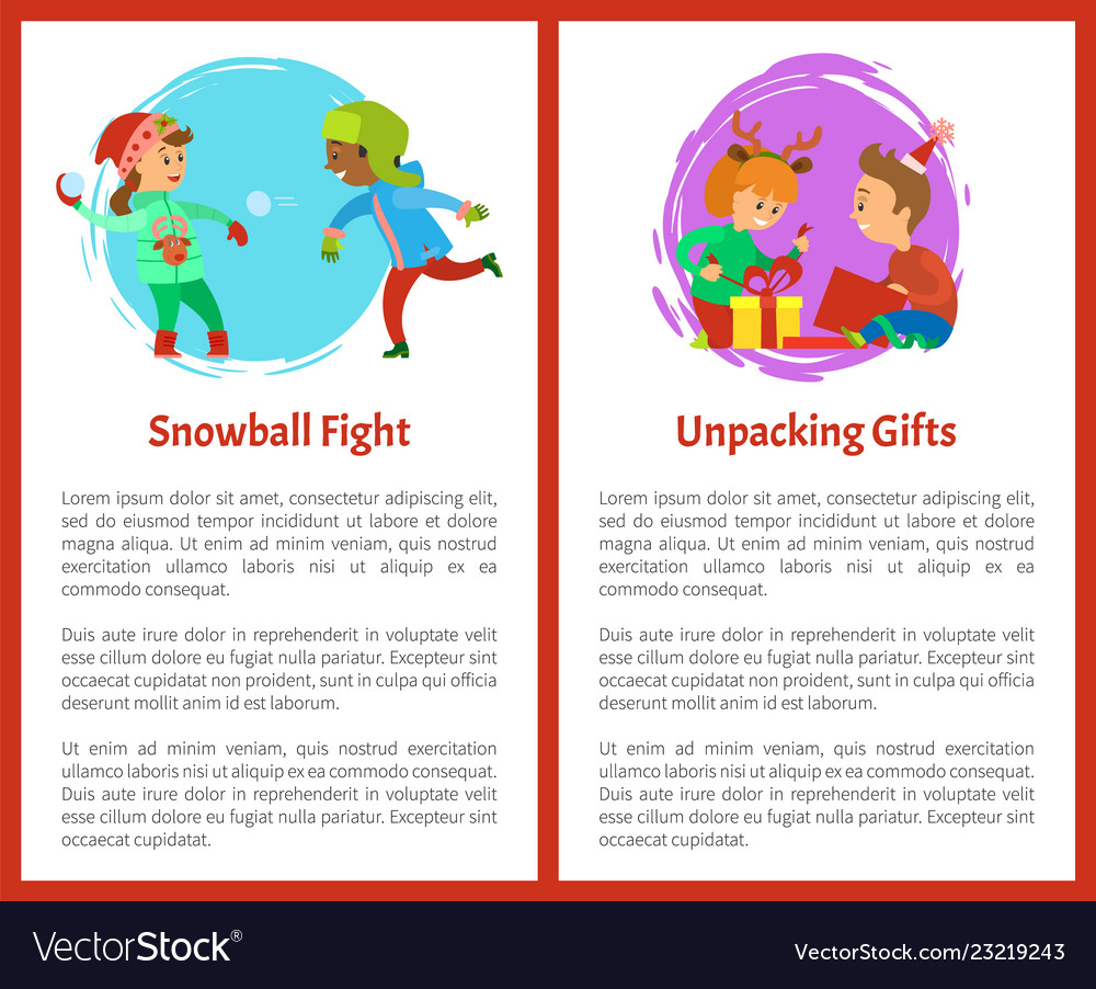 Snowball fights and unpacking gifts postcards