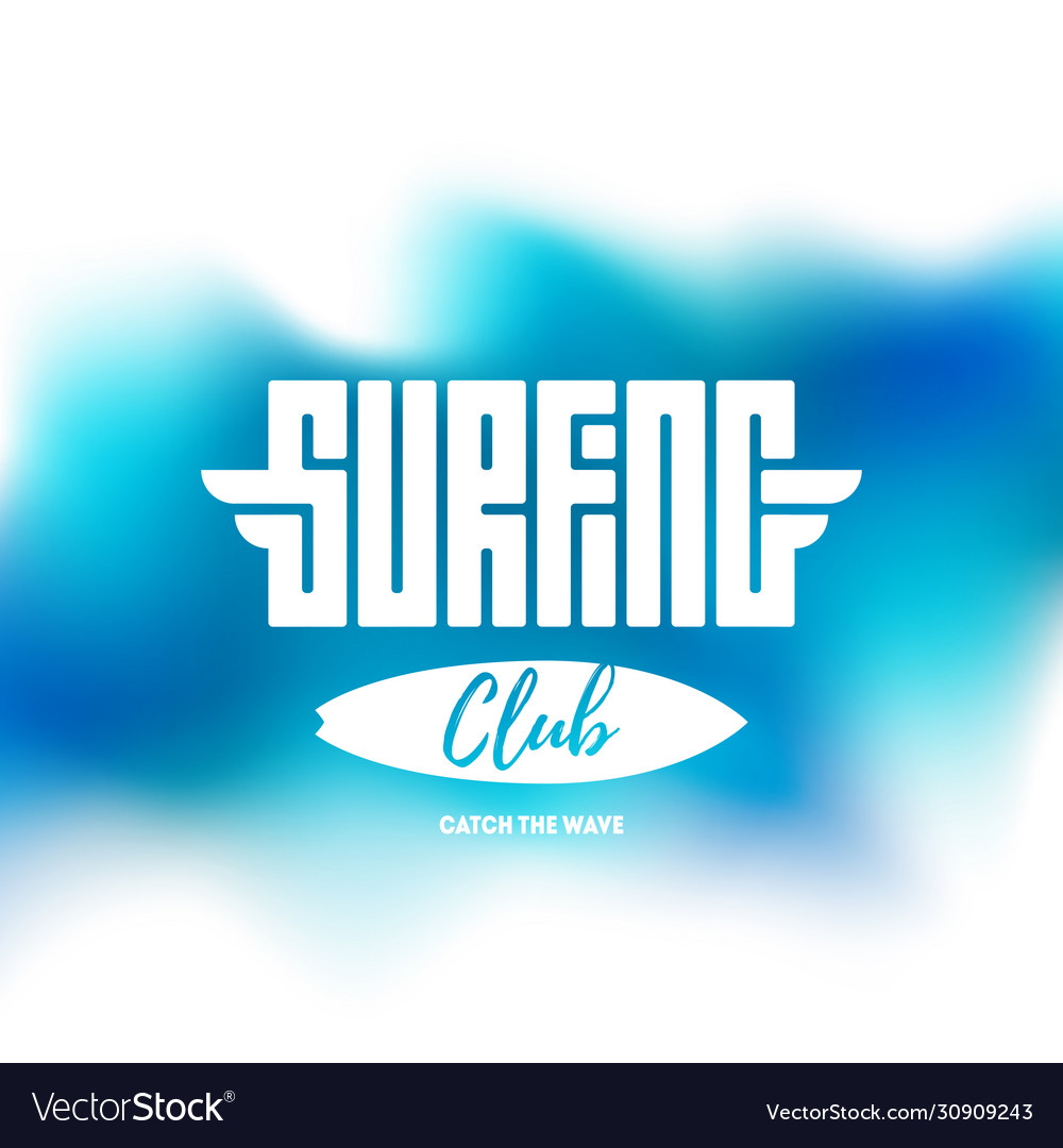 Surfing club - label or t-shirt print in blue