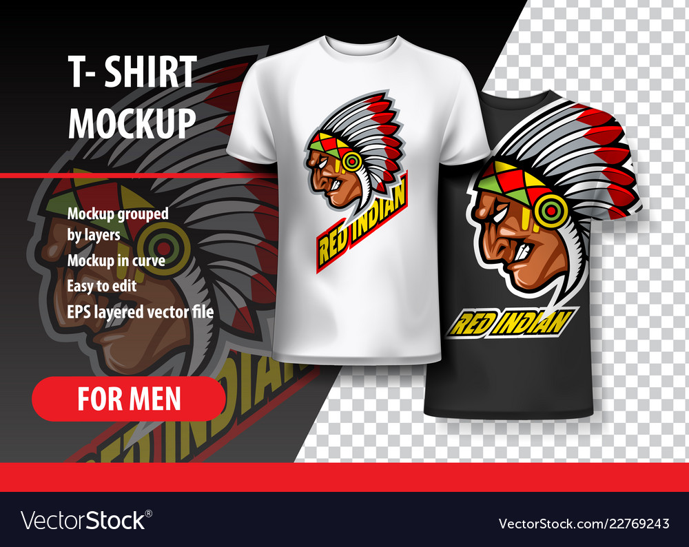 a0f7d29ab T-shirt mockup with indian side head fully Vector Image