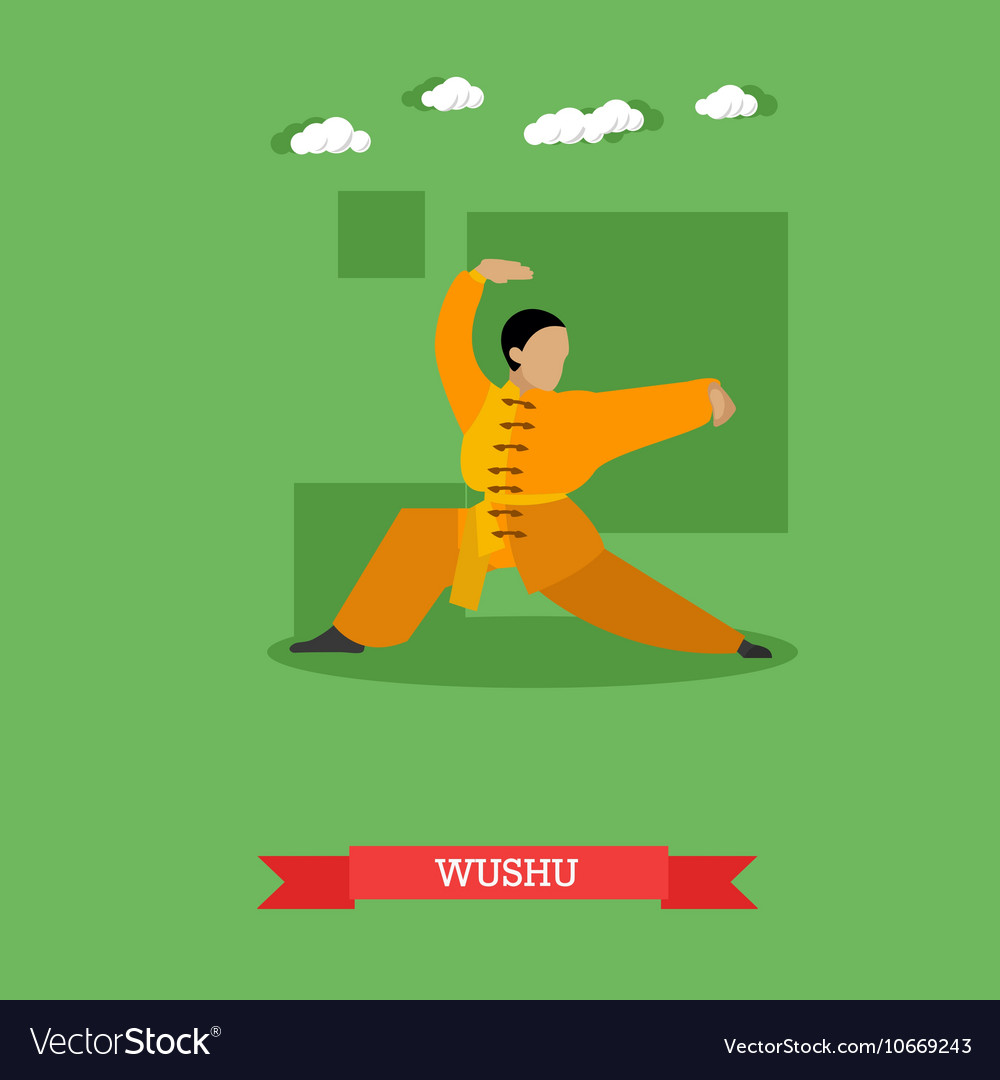 Wushu fighter shows his skills flat design