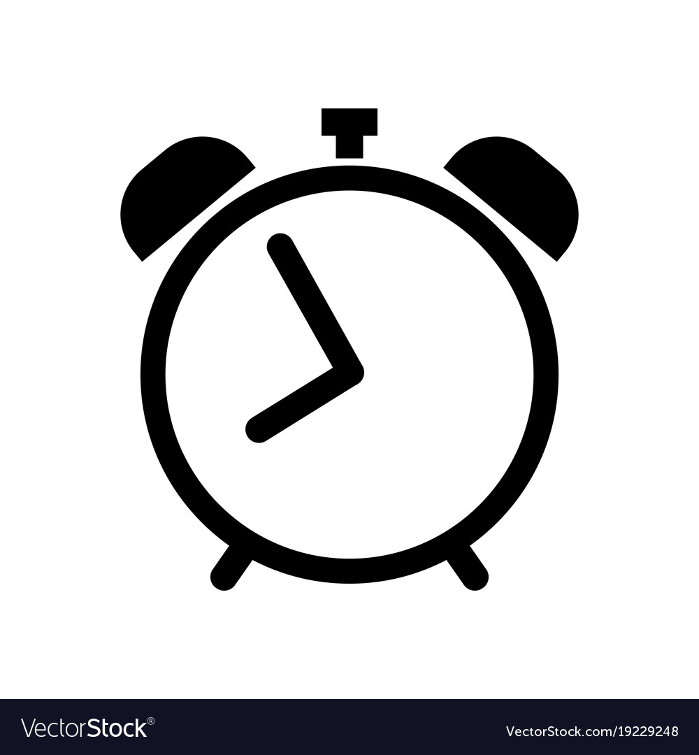 alarm clock icon in black royalty free vector image rh vectorstock com clock icon vector free download sand clock icon vector