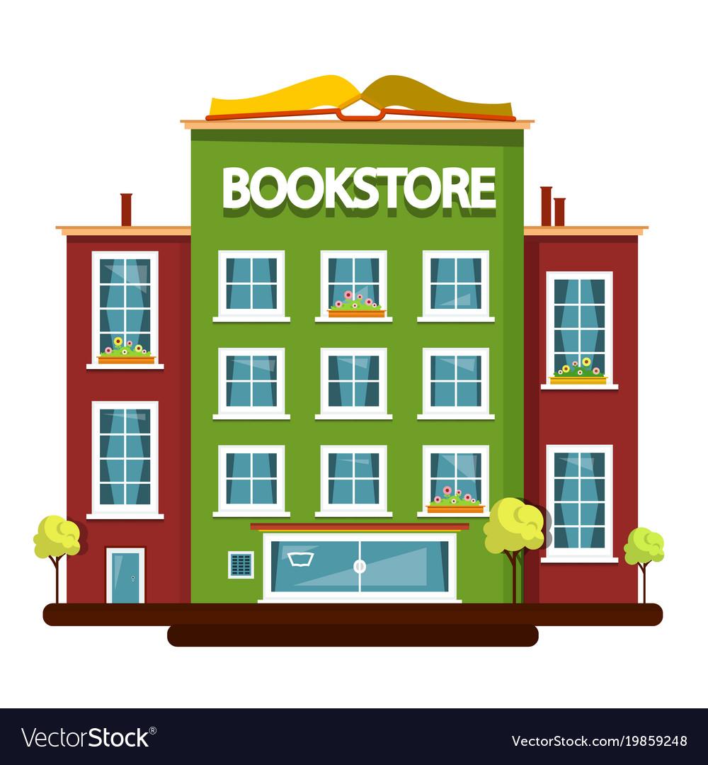 Bookstore building flat design