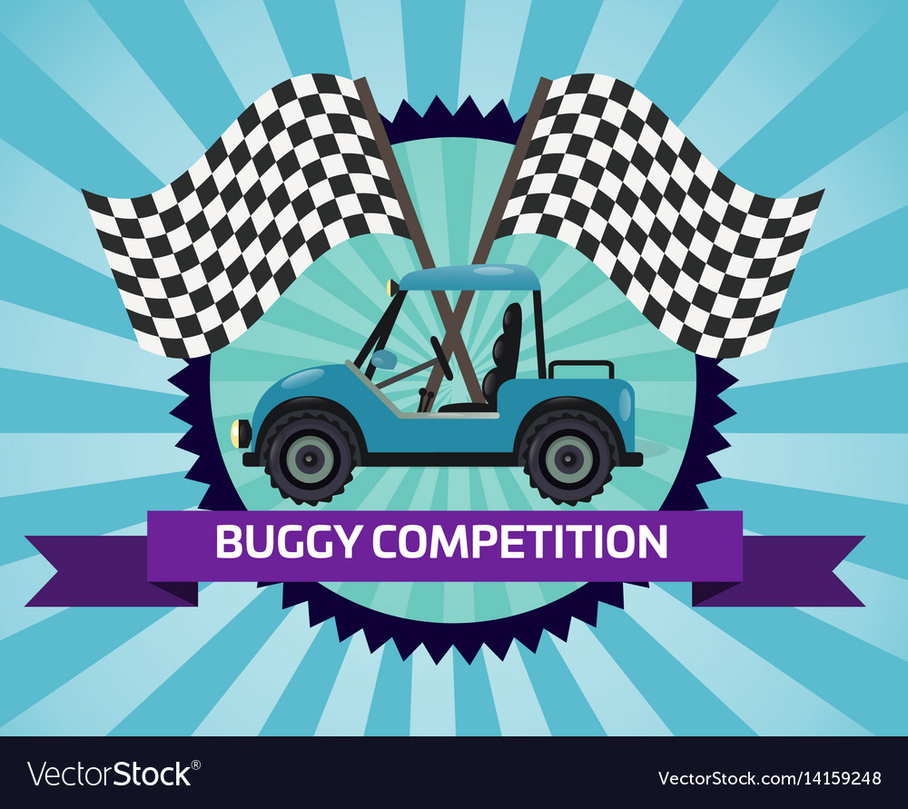 Buggy rally competition banner with checkered flag