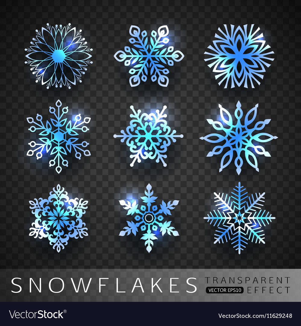 Collection of winter blue snowflakes icons