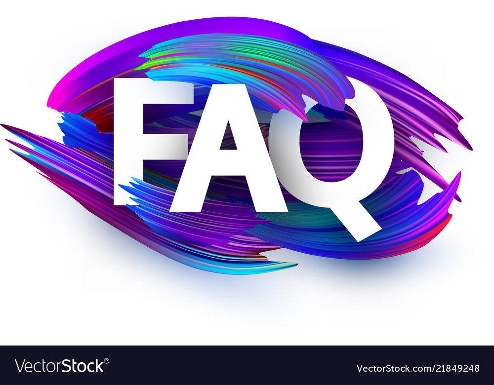 Faq poster with colorful brush strokes