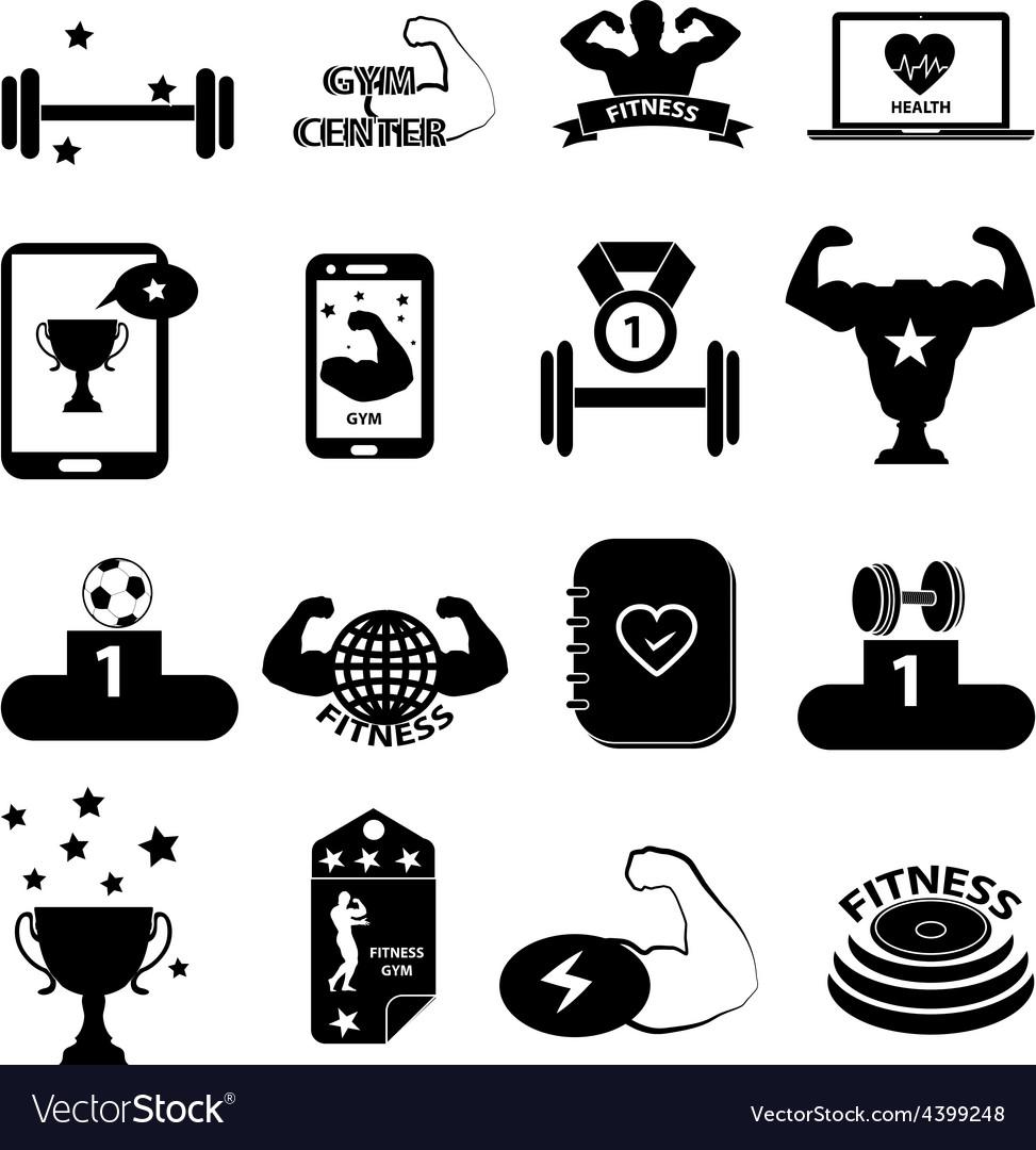 Gym fitness icons set