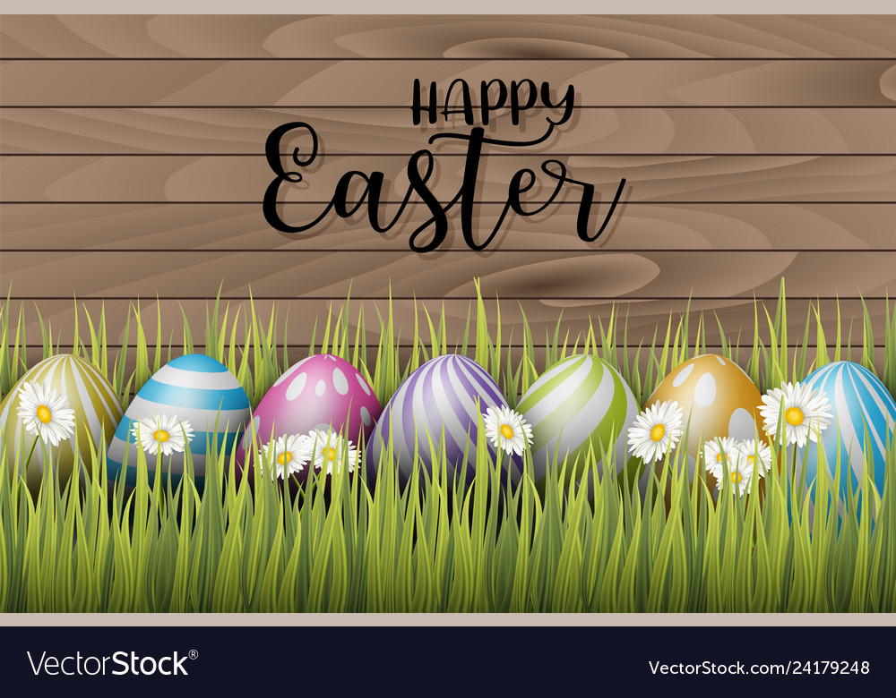 Happy easter background with painted 3d realistic