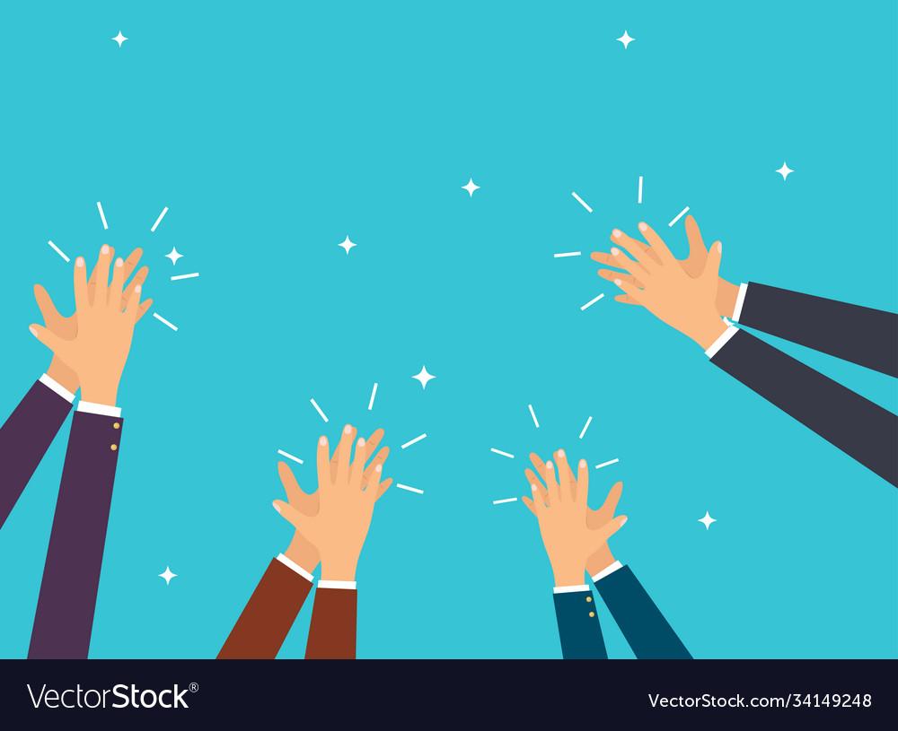Human hands clapping flat design modern concept