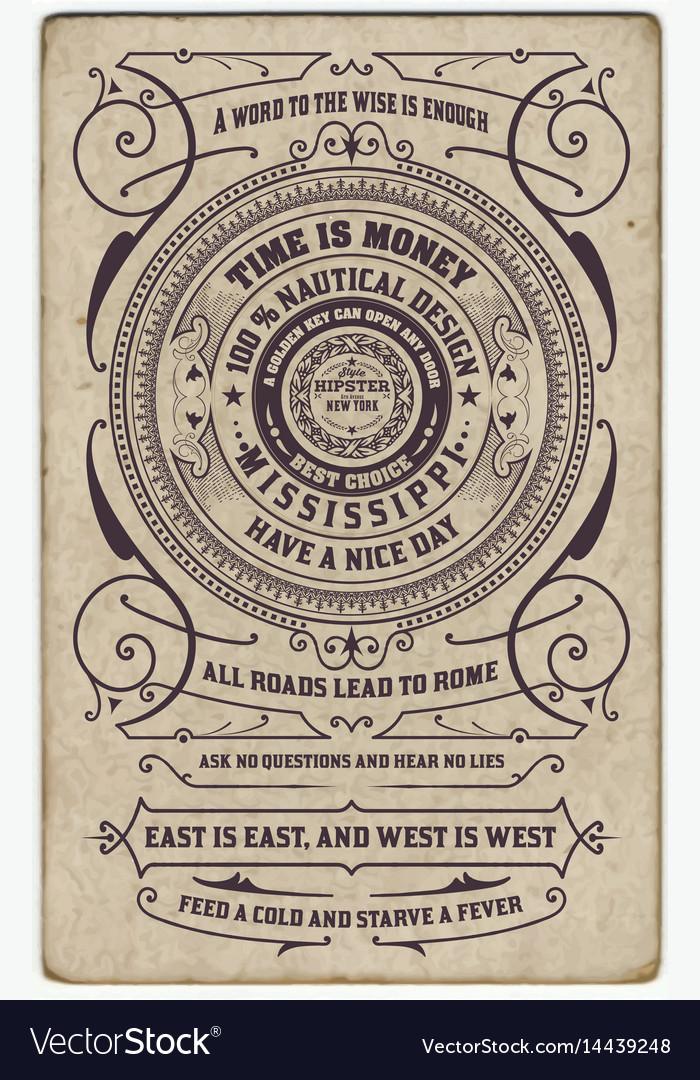 Label design antique frame vintage border